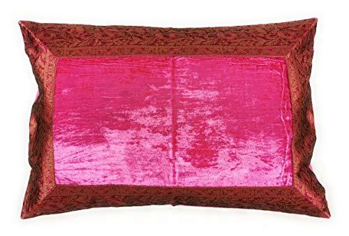 Agas Own Funda de cojín indio de 40 x 60 cm, funda de cojín oriental indio (rosa)
