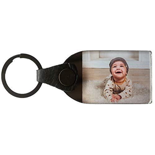 Portachiavi con foto 4:3, personalizzabile, con foto a scelta o testo