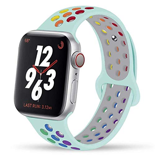 CGGA Correa For IWATCH Band 44mm 42mm 38mm 40mm IWATCH Banda Pulsera De Silicona Sport Series Accesorios For De IWatch 6 5 4 3 SE (Band Color : Rainbow Turquoise, Band Width : 42mm 44mm L)