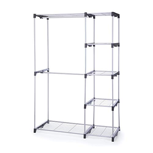 Type A Sturdy Closet Organizer  Freestanding Closet System with Shelves Rods to Organize Store Your Wardrobe and Garments  5 Shelves 3 Hanging Rods Black