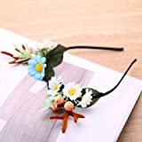 Lurrose 1Pc Novelty Christmas Headband Artificial Flowers Blossom Berry Deer Antler Haarband Headware for Party Women Girl Carnival -