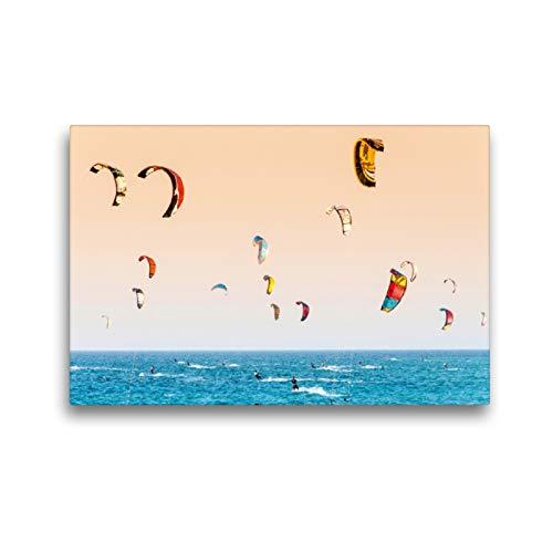 CALVENDO Premium Textil-Leinwand 45 x 30 cm Quer-Format Kite-Surfer. Lefkada, Griechenland, Leinwanddruck von Alessandro Tortora