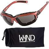 WYND Blocker Polarized Motorcycle Riding Sunglasses Sports Wrap Glasses, Red, Polarized Smoke
