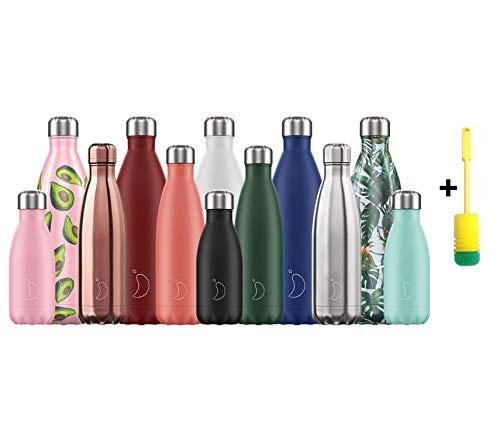 Chillys Flaschen Bottle   100% Dicht   Edelstahl ohne BPA   Wiederverwendbare Wasserflasche   Doppelte Vakuumwand   hält 24 Stunden kalt - 12 Stunden heiß + Flaschenbürste (500ml, Matte Purple)