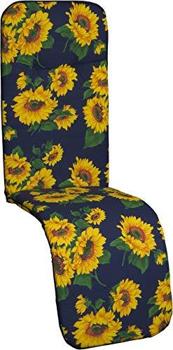 Beo Gartenstuhlauflage Gartenstuhlkissen Sitzkissen Polster für Relaxstuhl Sonnenblumen blau
