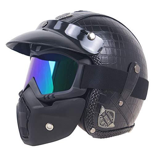 Motesen Cascos de cara abierta de medio casco alemán con visor de gafas Casco de motocicleta Cascos retro aprobados por DOT Casco Harley Ciclo de motor Capacetes com meio capacete aberto