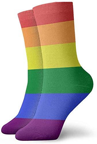tyui7 Mujeres LGBT Pride Rainbow Flag Art Impreso Novedad Divertida Calcetines casuales