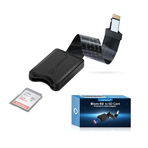 Micro SD auf SD Verlängerung,LANMU TF auf SD Karte Verlängerungskabel Speicherkarte Adapter Extension Kabel für Monoprice Mini 3D Drucker/Ender3/ Anet A8 3D Drucker/Raspberry Pi/GPS (schwarz, 13cm)