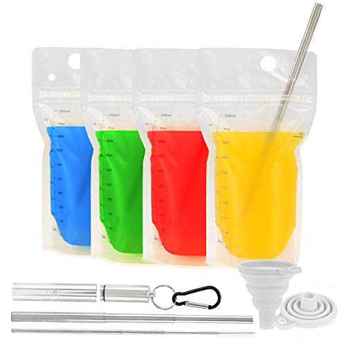 Double-Zipper Premium Reusable Drink Pouches & Stainless Steel Straw Set   Leak-Proof Recyclable Eco Friendly Drink Pouches & Collapsible Metal Straw Set w/ Cleaner, Case, & Clip   Food-Safe, BPA-Free