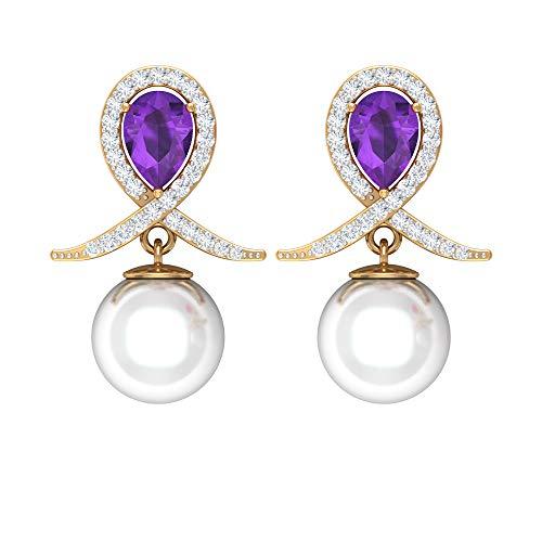 Rosec Jewels 14 quilates oro amarillo pera redonda violeta White Amethyst Perla de agua dulce Diamond