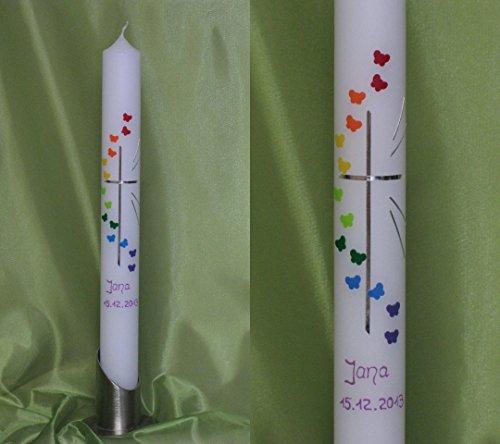 Taufkerze/Kommunionkerze in 40 x 4 cm, inklusive Beschriftung ! P 70/1