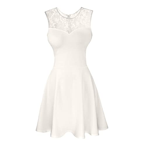ac58fa161c7f Sylvestidoso Women's A-Line Pleated Sleeveless Little Cocktail Party Dress  with Floral Lace