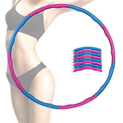 Homealexa Hula Hoop Reifen Fitnesskreis mit Schaumstoff ca 1 kg, Gymnastik Kreis abnehmbare Schaumbeschichtung Massageknopf Wellenstruktur für Fitness-Training