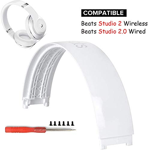 Studio 2 Headband Replacement Head Band Arch Repair Parts Compatible with Beats Studio 2.0 Wired Wireless Over Headphones.B0500, B0501+T5 Screwdriver (White)
