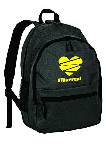 Villarreal - Mochila de piel sintética con bolsillos con cremallera y tirantes