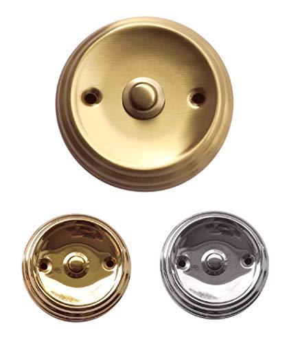 Geprägte Aufputz-Mess. Klingel + Edelstahl poliert 80 mm Ø-Türklingel-Klingelplatte-Klingel-Klingelknopf (303 Messing matt gebürstet)