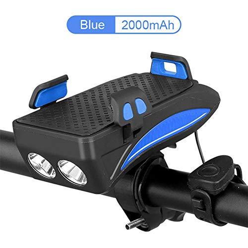 FTYU Fahrradscheinwerfer, USB-Fahrradscheinwerfer, 4000-mAh-Batterie-Scheinwerfer, blau und schwarz