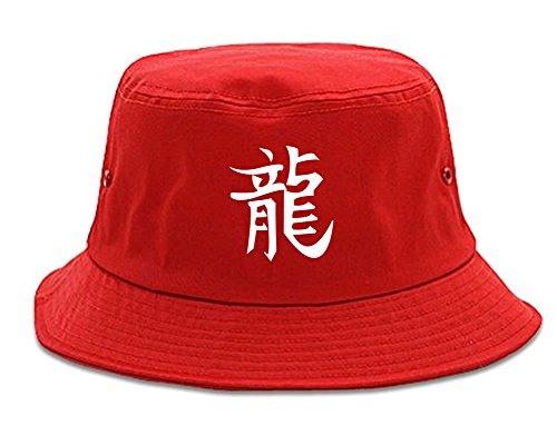Chinese Symbol for Dragon Chest Bucket Hat Red
