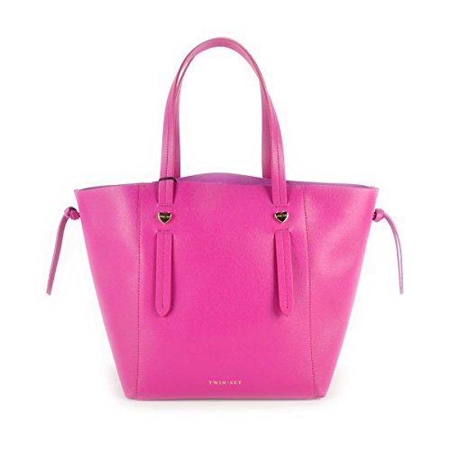 "Borsa donna Shopping TWIN-SET in vera pelle - AS67WA Fucsia""Echinacea"""