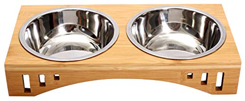 Geyecete Cat Bowls with Wooden Stand Cat Bowls with Stand Pet Dining Table Cat Feeder with Raised Bamboo Stand for Cats and Puppy Raised Dog Bowls three sizes-Double Bowls