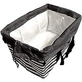 A-style エコバッグ レジかご 折りたたみタイプ 保冷はっ水素材使用 34L ビッグサイズ (ストライプブラック(巾着黒))