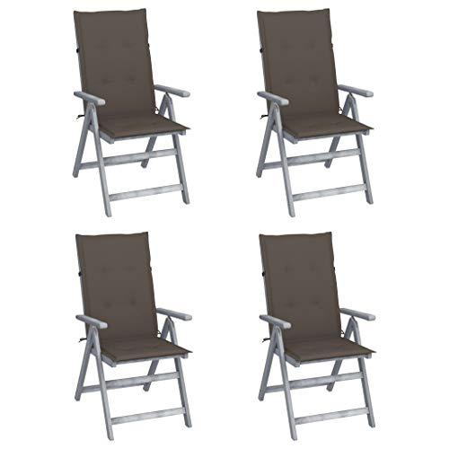 vidaXL 4X Akazienholz Massiv Gartenstuhl Verstellbar mit Auflagen Stuhl Hochlehner Holzstuhl Stühle Gartenstühle Gartensessel Outdoor Gartenmöbel
