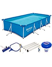 Bestway Steel Pro Frame Pool zonder pomp, vierhoekig, zwembad met stalen frame, blauw