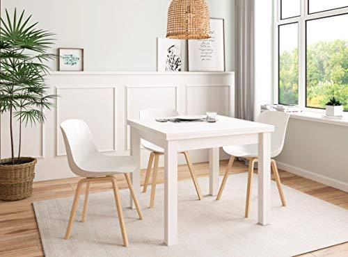 KITKAY Mesa de Comedor Kata Extensible Tipo Libro de 90x90 cm. Blanco Polar