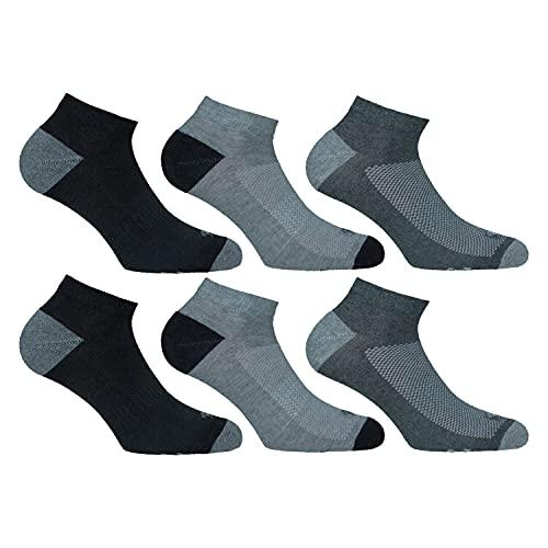 Lonsdale Sneaker Tech 6 paires de chaussettes idéales pour le trekking, la course, le tennis, le cyclisme, une excellente qualité de coton (Anthrancite, Gris moyen, Gris Melange, 43-46)