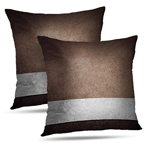 WAYATO Set of 2 Pillow Case Cotton Polyester Blend Throw Pillow Covers Black Brown Grey Look Bed Home Decor Cushion Cover 18 x 18 Inch