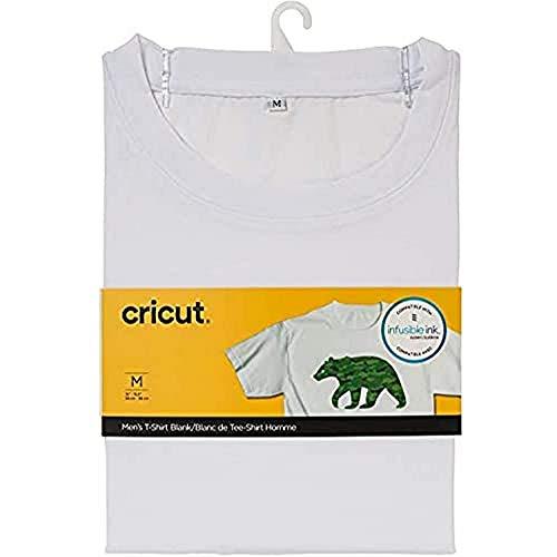 Cricut, Ras du cou T-shirt homme personnalisable, col de l'équipage, Blanc, M