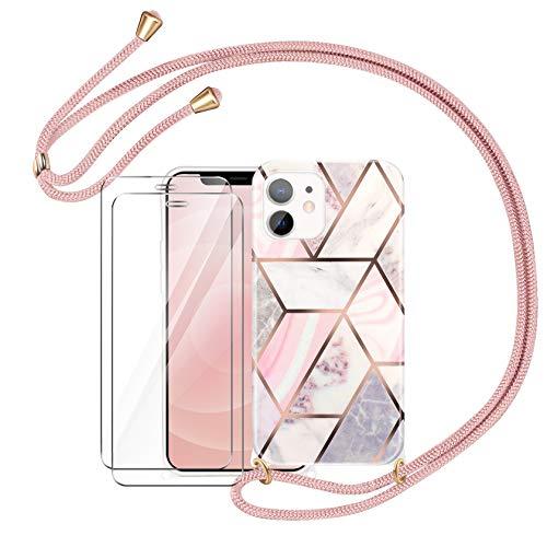 AROYI Funda con Cuerda Compatible con iPhone 12 Mini con 2 Pack Cristal Templado con Correa Colgante Ajustable Carcasa Silicona Mármol - Oro Rosa