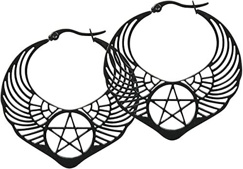 Wildcat Winged Pentagram Hoops Frauen Ohrring schwarz