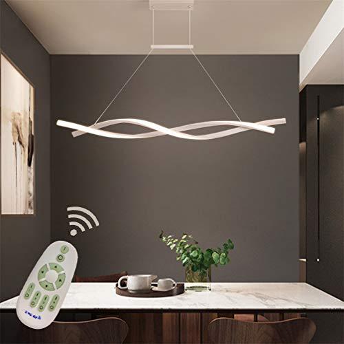 Led Pendelleuchte Hoehenverstellbar Esstisch Esszimmer Lampen Dimmbar Deco Hängelampe Fernbedinung, Modern Design Metall Acryl-schirm Lüster für Wohnzimmer Büro Küche Decke Leuchten (Weiß, L80cm)