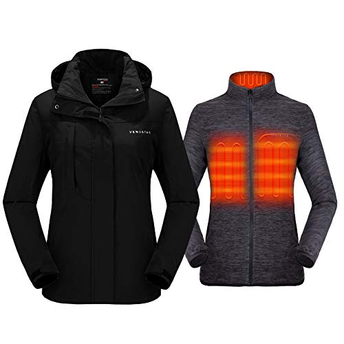 Venustas Women's 3-in-1 Heated Jacket with Battery Pack 5V, Ski Jacket Winter Jacket with Removable Hood Waterproof Black