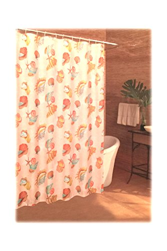 Caribbean Joe Island Supply Co Fabric Shower Curtain Tossed Shells