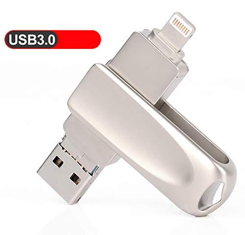 Memoria USB para iPhone, USB 3.0, unidad de memoria OTG con adaptador micro USB, unidad de humb 3 en 1 para Apple iPad, Android y PC 32 GB