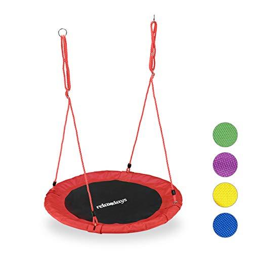 Relaxdays Unisex– Erwachsene, rot Nestschaukel, rund, für Kinder & Erwachsene, verstellbar, Ø 90 cm, Garten Tellerschaukel, bis 100 kg, H x D: ca. 5 x 90 cm