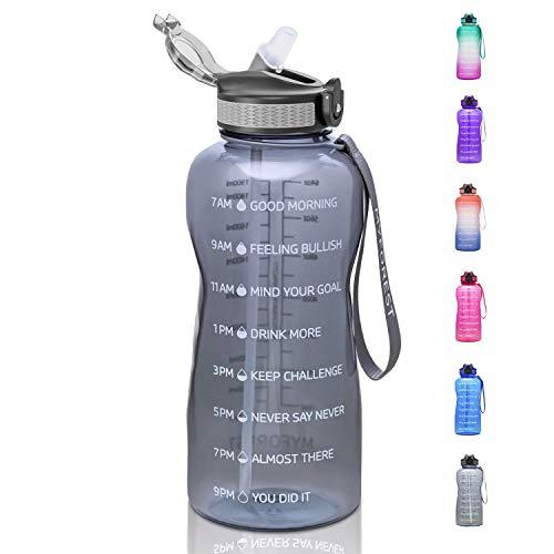 MYFOREST 2,2-Liter-Wasserflasche mit Zeitmarkierungen, BPA-freies Tritan-Material, 2,2-Liter-Trinkflasche mit Strohhalm, 2200-ml-Trinkflasche für Gewichtsverlust und allgemeine Gesundheit, grau
