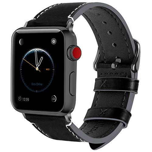 Fullmosa 10 Colores para Correa de Apple Watch 38mm y 42mm, Piel Wax iWatch Pulsera/Banda/Strap para Apple Watch SE, Series 6/5/4/3/2/1, Negro + Hebilla de Gris Ahumado, 42mm
