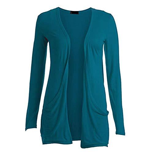WWricotta Womens Ladies Cardigan Solid Pocket Long Sleeve Coat Parka Outerwear(Blau,XXXL)