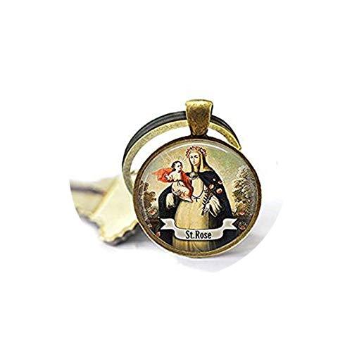 qws Saint Rose of Lima Keychain - Catholic Saint Jewelry - St Rose - Religious Jewelry - Saint Rose Charm - Catholic Faith Gift