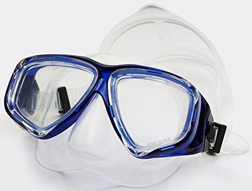 WOWDECOR Schnorchelmaske Taucherbrille Dioptrin Dioptrien Korrektur, Tauchmaske Tauchermaske für Erwachsene und Kinder mit Kurzsichtigkeit Kurzsichtig (Blau, -4,0)