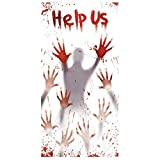 Generique - Help Us Halloween Türdeko weiß-grau-rot