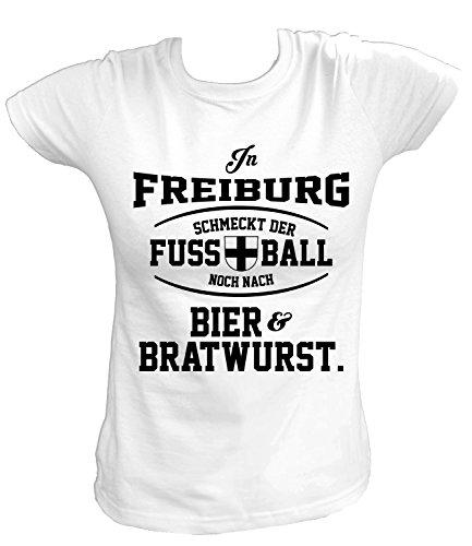 Artdiktat Damen T-Shirt - In Freiburg schmeckt der Fußball noch nach Bier und Bratwurst Größe M, weiß
