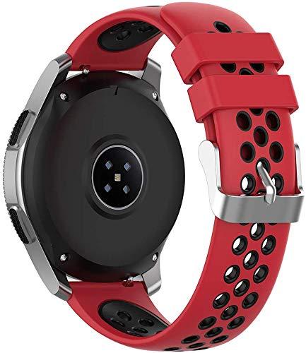 NeatCase Silikon Uhrenarmband kompatibel mit Garmin Vivoactive 4S (40MM) / Legacy Saga Rey (40MM) / Legacy Hero Captain Marvel (40MM) Armband Sportarmband Uhr Zubehör (18mm, Rot und Schwarz)