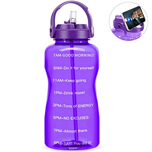QuiFit Motivational Gallon Water Bottle - with Straw & Time Marker BPA Free 128 oz Large Water Jug Leak-Proof Durable for Fitness Outdoor Enthusiasts(violet,1 gallon)
