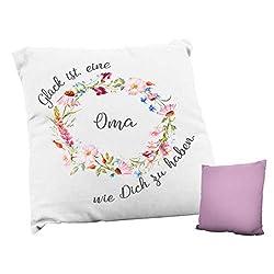 True Statements Kissen Glück ist eine Oma wie dich zu haben - ideales Geschenk, rückseite rosa