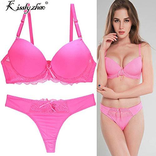 zysymx Conjunto de Encaje Acolchado Push up Bragas Ropa Interior Calzoncillos de Mujer íntima lencería y amp; de Mujer Juegos Breves G Pink 80A (36A)
