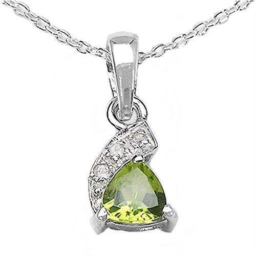 Schmuck-Schmidt-Collier/Halskette mit 3 Diamanten/Peridot-Anhänger-0,48 Karat